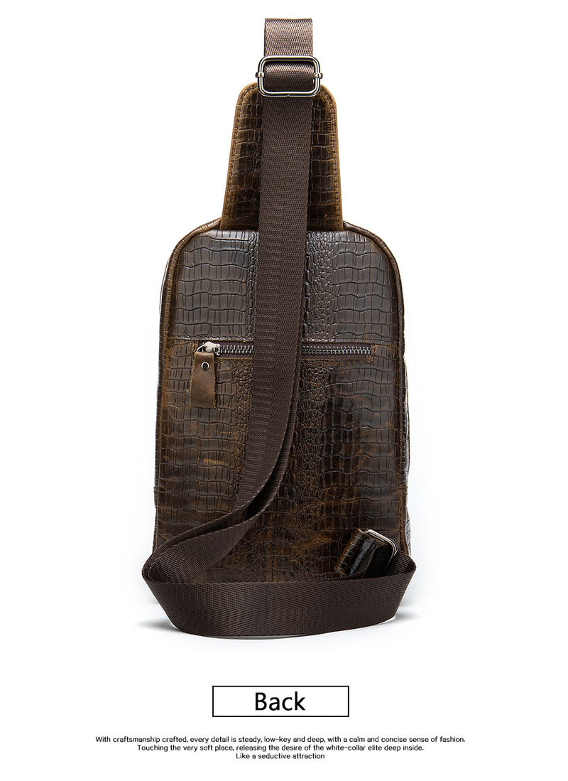 Genuine Cow Leather Alligator Pattern Sling Zipper Shoulder Bags
