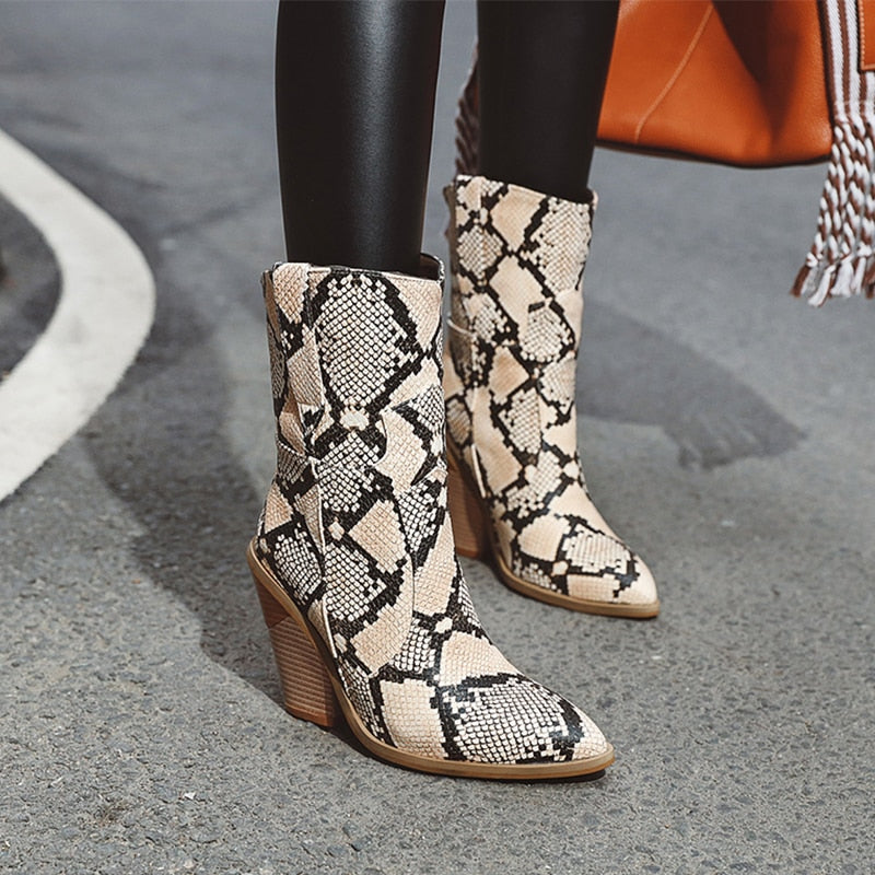 Winter Snake Skin Pattern Western High Heels Pointed Toe Ankle Boots