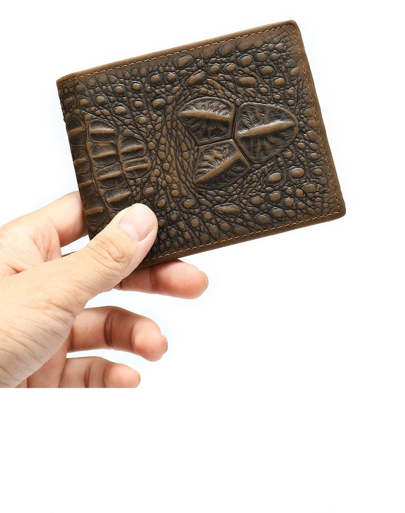 Exotic Gator Texture Slim Leather Zipper Short Bifold Wallet
