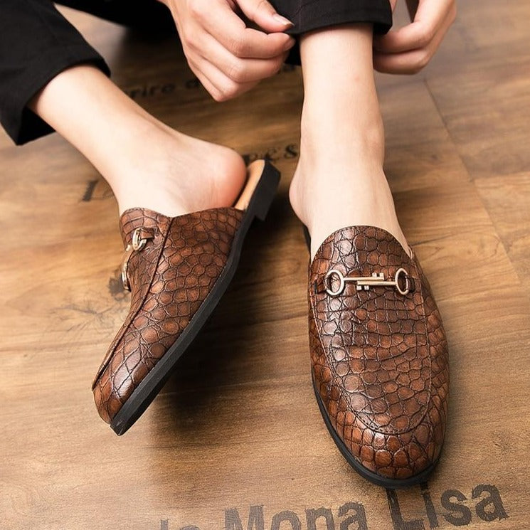 Exotic PU Crocodile Embossed Texture Slip-On Dress Shoes