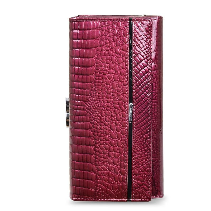 Embossed Gator Pattern Leather Long Zipper Hasp Clutch Wallet