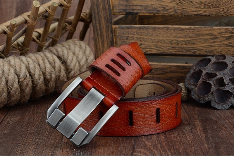 BIG SIZE 100-130cm Exotic Textured Leather Strap Pin Buckle Belts