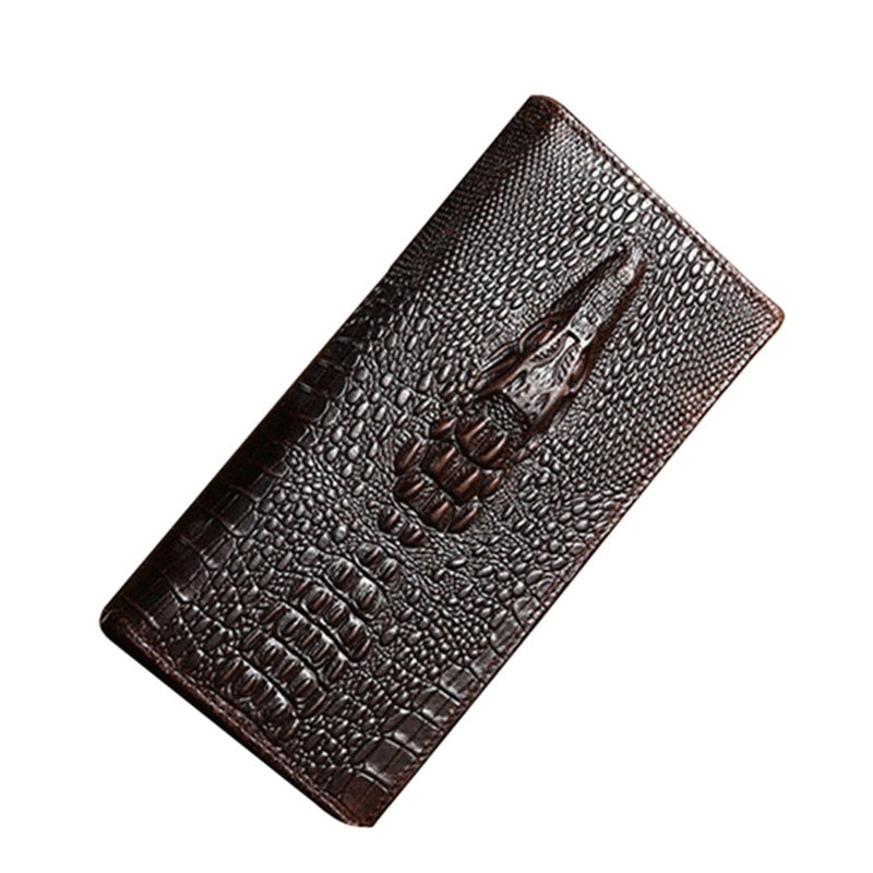 Luxury Alligator Veins Pattern Genuine Cow Leather Long Business Wallets