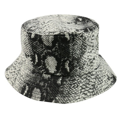 Leather Python Pattern Foldable Outdoor Travel Flat Top Bucket Hats
