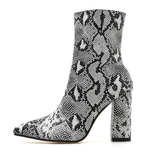 Pointed Toe Snakeskin Pattern High Heels Zipper Ankle Boots
