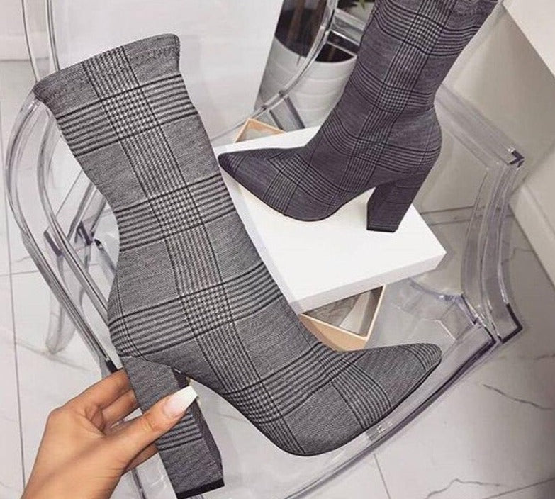 Pointed Toe Exotic Texture Square Heel Zipper  Ankle Boots