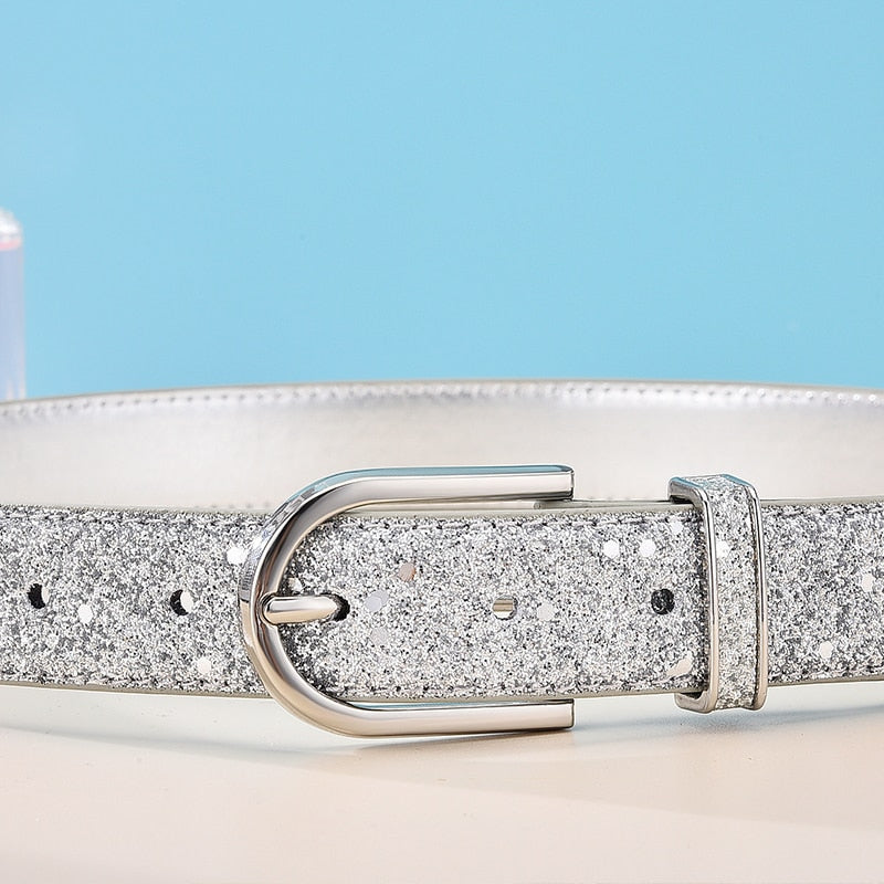 Exotic Fashion Glitter PU Strap Zinc Alloy Buckle Waist Belts