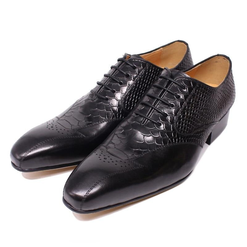 Classic Style Leather Snakeskin Print Lace-Up Brogue Dress shoes
