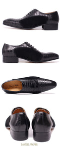 Luxury Genuine Cow Leather Lace up Pointed Toe Suede Patchwork Oxford Shoes