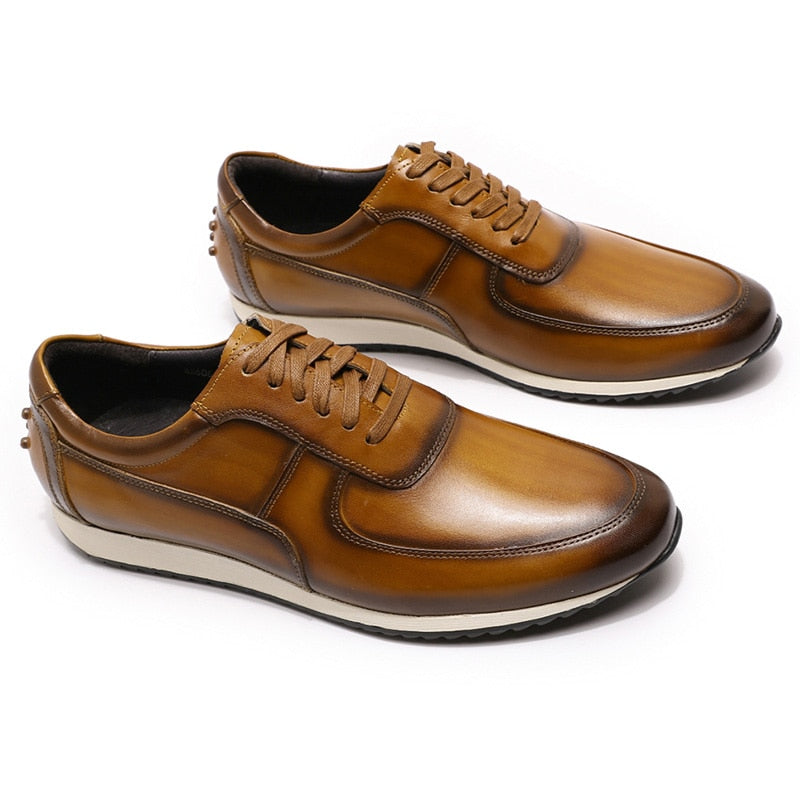 Big Size Exotic Leather Hand Painted Flat Lace-Up Oxford Casual Shoes