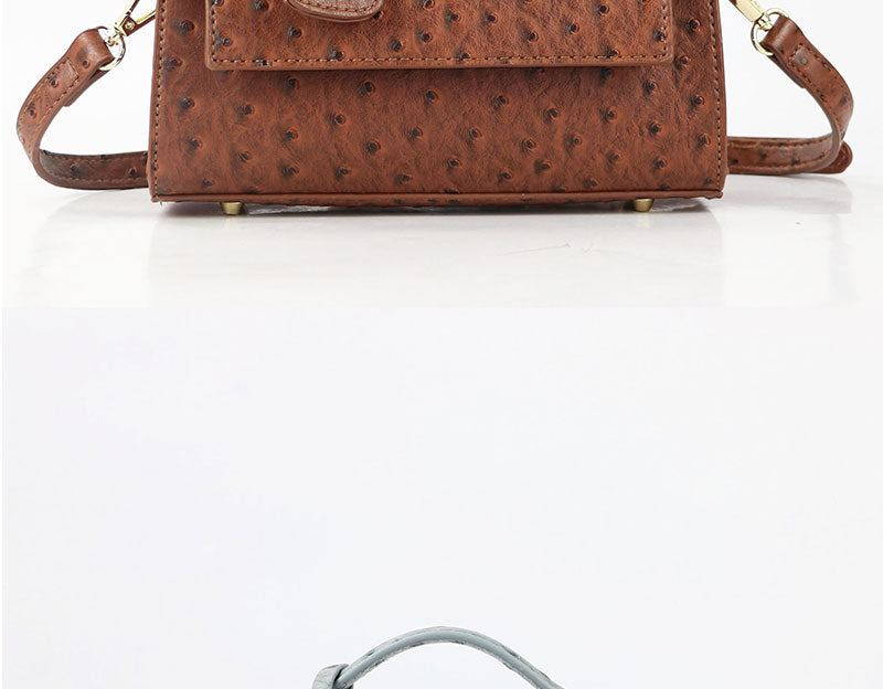 Monogrammed Letters PU Leather Ostrich Pattern Messenger Clutch Bag