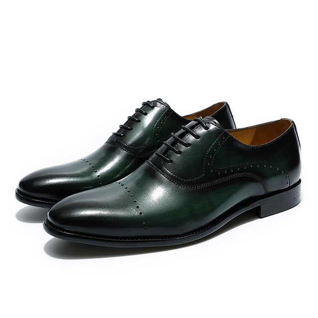 Formal Genuine Cow Leather Plain Toe Lace Up Brogue Oxford Shoes