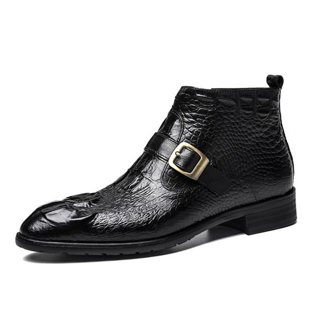Comfortable Cow Leather Alligator Texture Lace-Up Ankle Flat Winter Boots