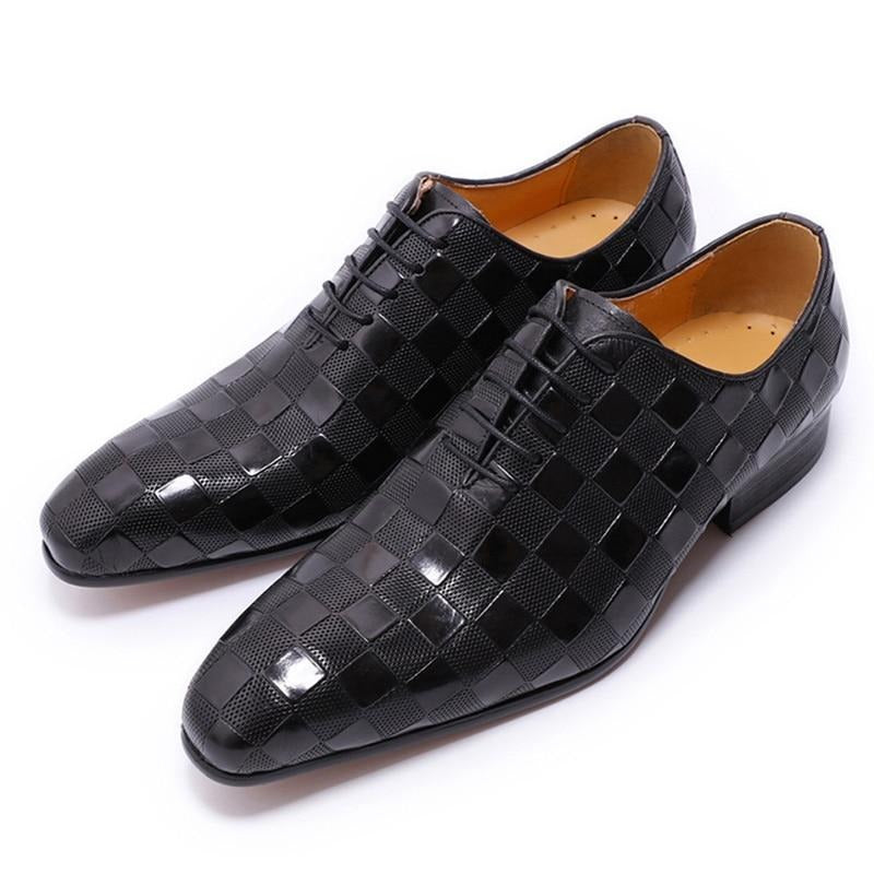 Italian Leather Exotic Plaid Print Lace-Up Formal Oxford Dress Shoes