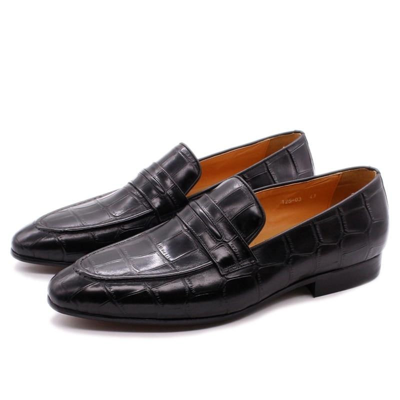 Casual Genuine Cow Leather Crocodile Print Slip On Party Loafers