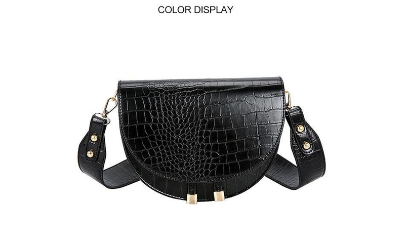 Exotic Croc Pattern Soft PU Single Strap Semicircle Clutch Bag