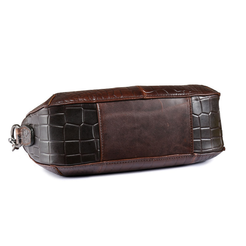 Cowhide Leather Small Vintage Crocodile Pattern Shell Shoulder Bags