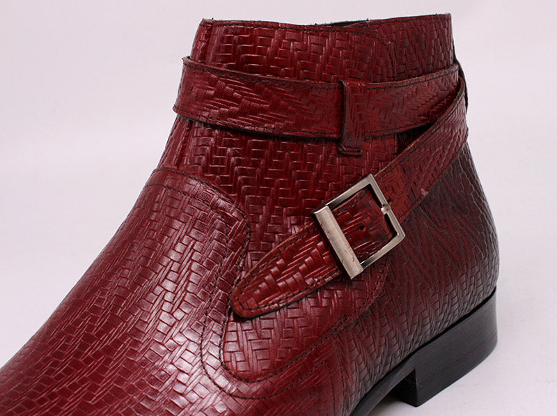 Handmade Exotic Texture Leather High Top Buckle Strap Motorcycle Boots