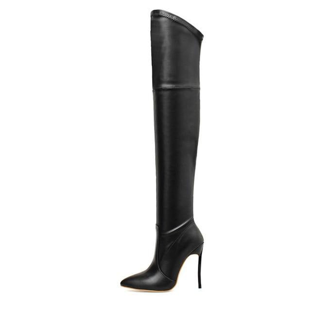 Stretch Over the Knee Extreme Thigh High Pointed Toe Boots