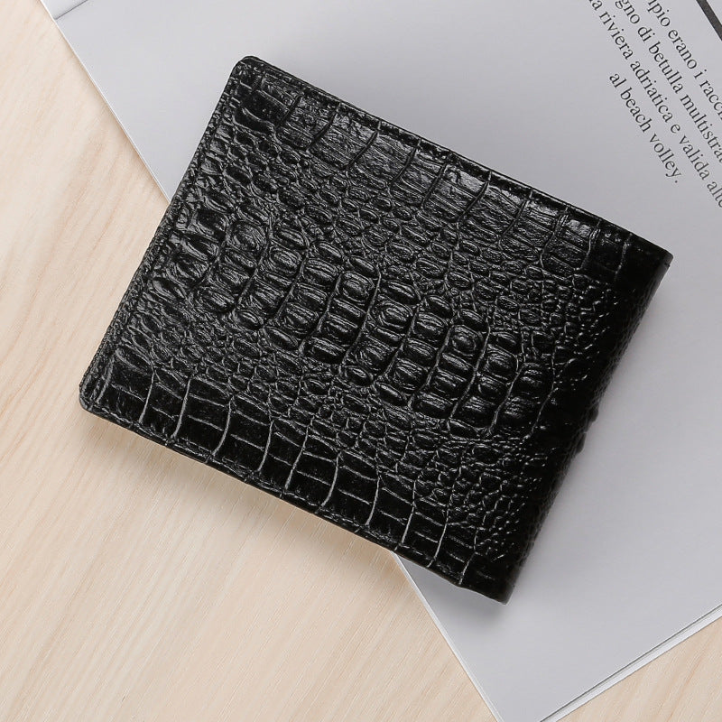 Vintage Genuine Cow Leather Alligator Pattern Card Holder Zipper Wallet