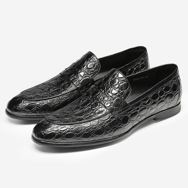 Leather Summer Casual Crocodile Texture Slip-On Loafers