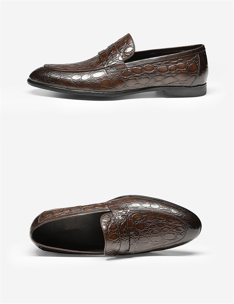 Crocodile Textured Cow Leather Summer Casual Slip-On Loafers