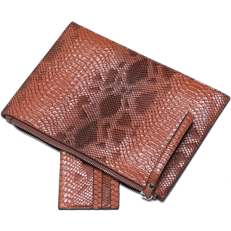 Embossed Python Pattern PU Leather Zipper Closure Stylish Party Clutches
