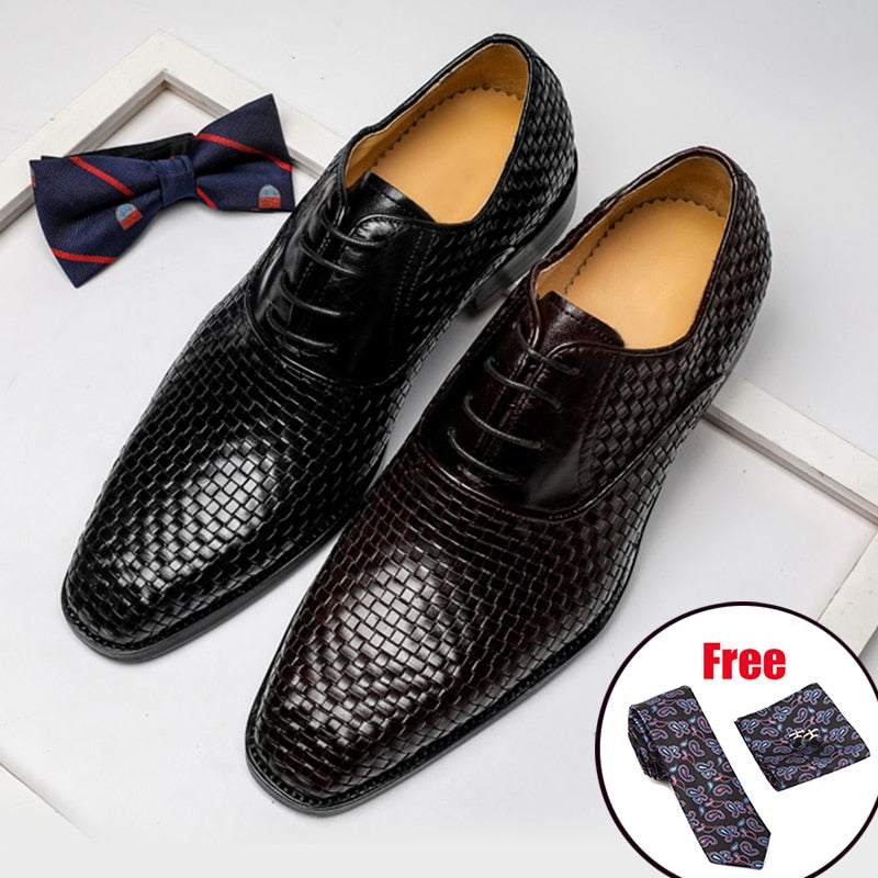 Exotic Texture Business Style Lace Leather Round Toe Dress Shoes