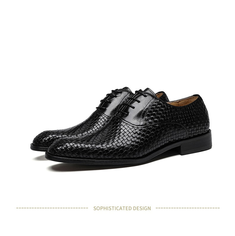 Exotic Texture Leather Business Suit Lace-Up Brogue Dress Shoes