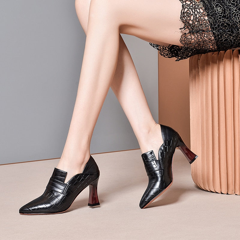 Embossed Leather Exotic Patchwork Thick Hoof Sexy Pumps Heels