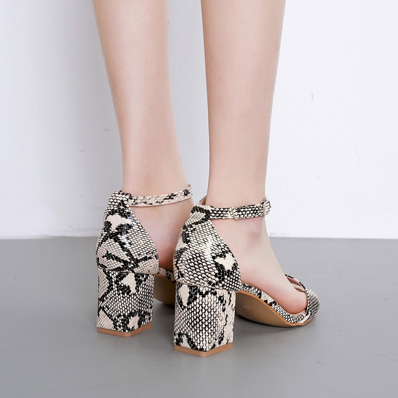 Snake Skin Pattern Summer Open Toe Ankle Strap Thick High Heels