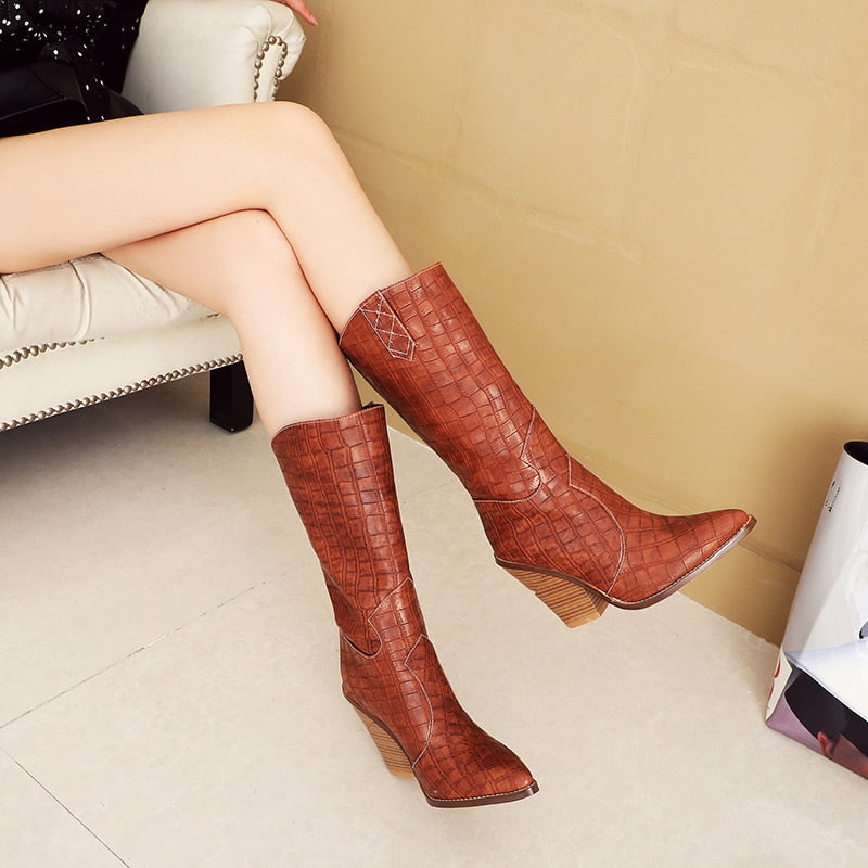 Emboss PU Exotic Wood Heels Pointed Toe Plus Size Winter Mid Calf Boots