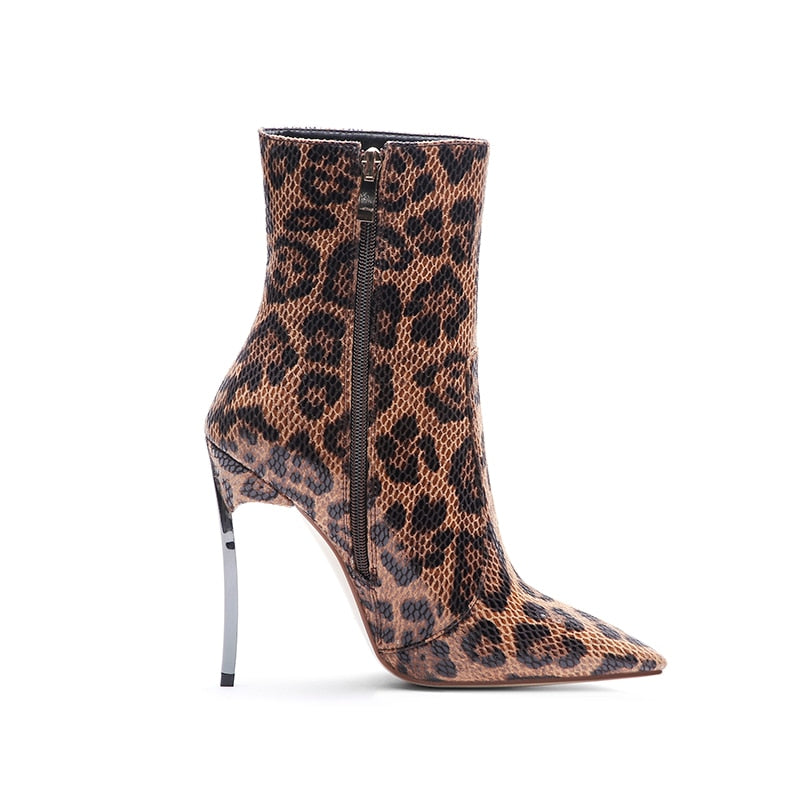 Winter Thin Plus Size Sexy Leopard Pattern High Heels Ankle Boots