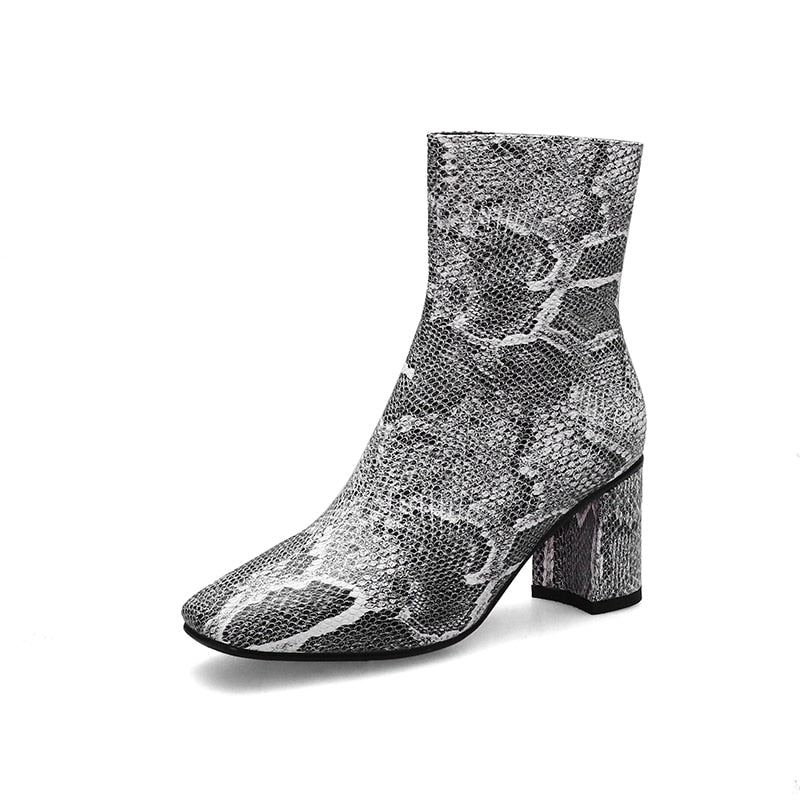 Winter Plus Size Snake Skin Print Sexy High Heels Square Toe Ankle Boots