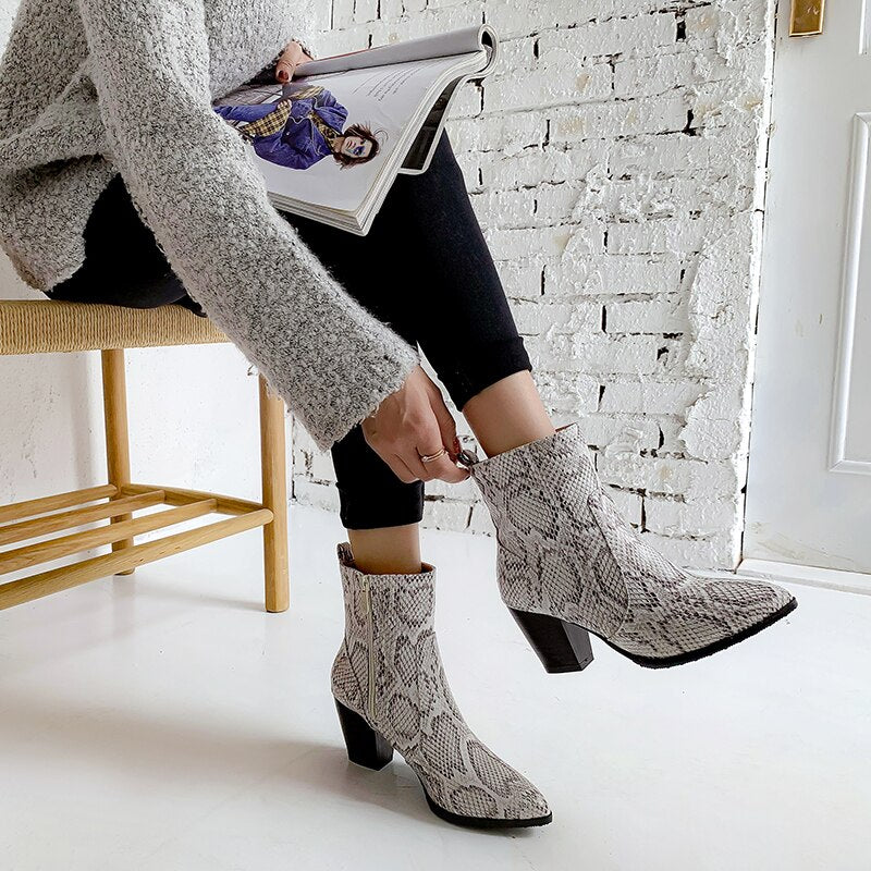 Heels High Pointed Toe Plus Size Western Winter Snake Skin Print Boots