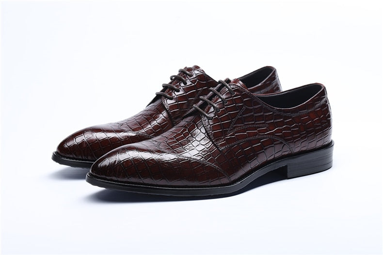 Alligator Textured Leather Pointed Toe Lace-Up Brogue Dress Shoes