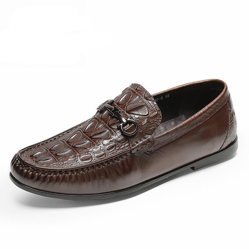 Casual  Slip On Leather Crocodile Texture Waterproof Loafers