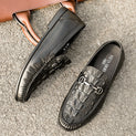Slip-On Rubber Outsole Cow Leather Croc-Embossed Casual Loafers