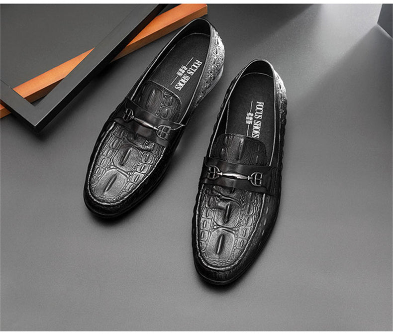 Summer Casual Breathable Leather Crocodile Pattern Slip-On Loafers