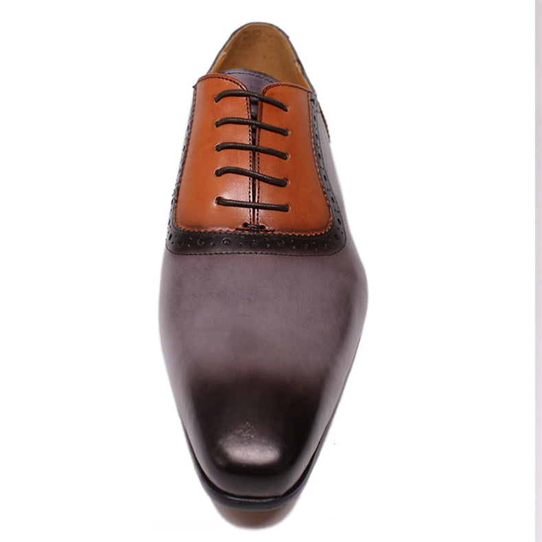 Exotic Italian Lace Up Pointed Toe Formal Oxford Dress Shoes