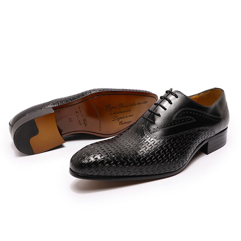 Luxury Italian Exotic Texture lace-Up Pointed Toe Formal Oxford Dress Shoes