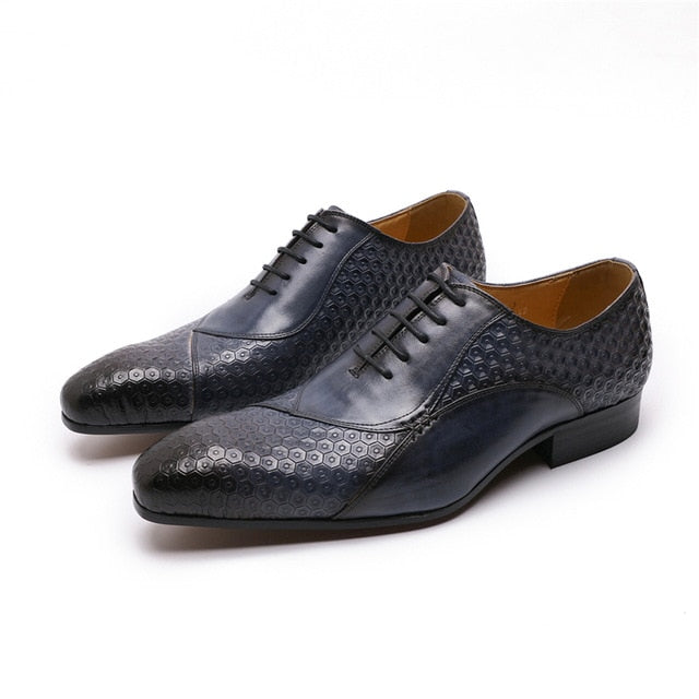 Exotic Embossed Pattern Leather Lace Up Pointed Toe Dress Shoes