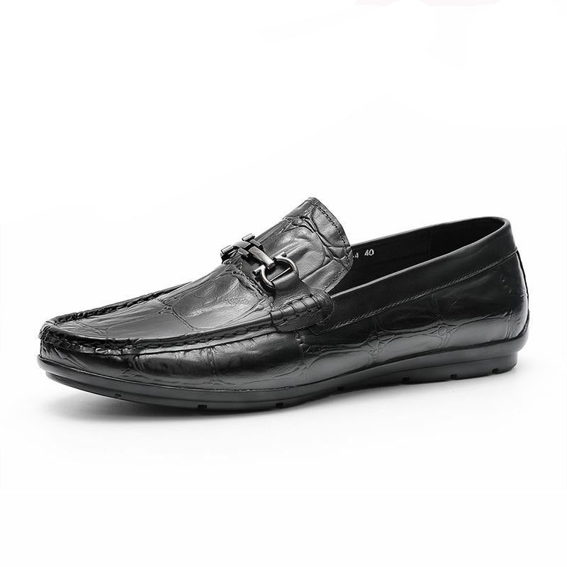 Summer Casual Crocodile Texture Leather Slip-On Derby Loafers
