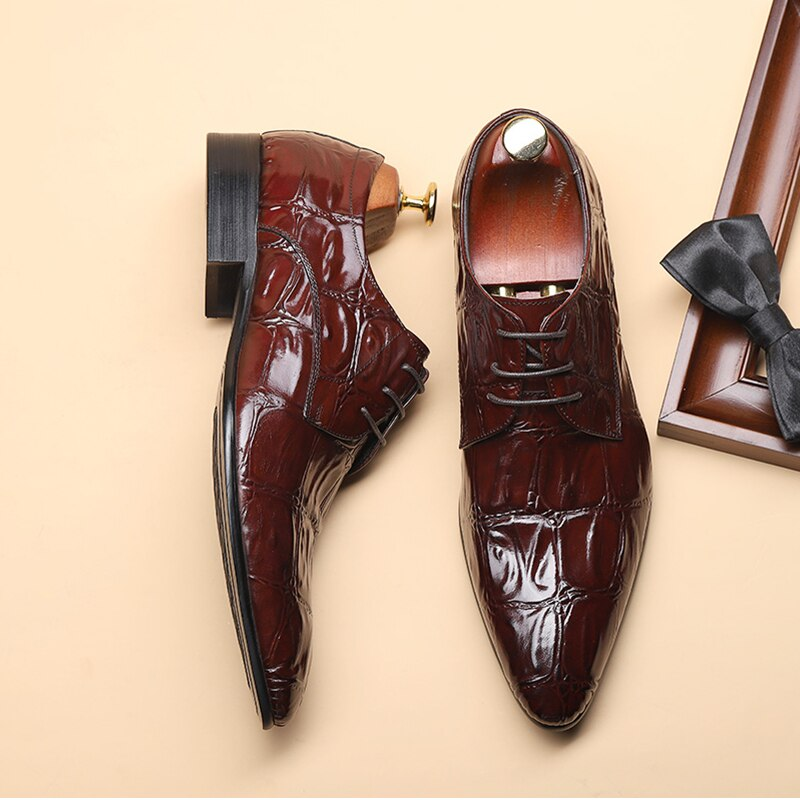 Business Formal Leather Alligator Pattern Lace-Up Oxford Dress Shoes