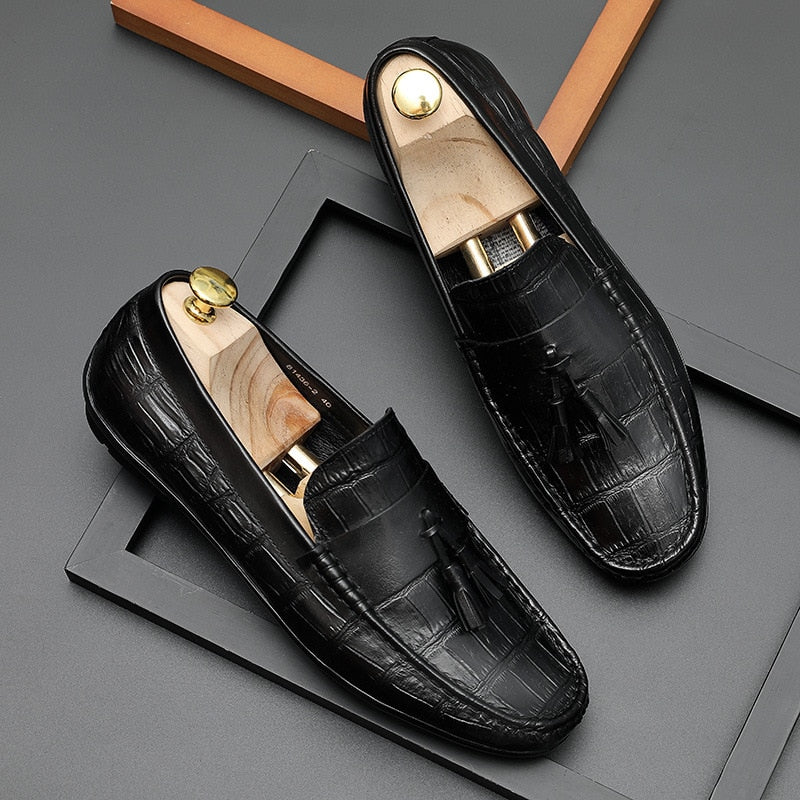 Slip-On Alligator Texture Rubber Outsole Leather Derby Loafers Shoes