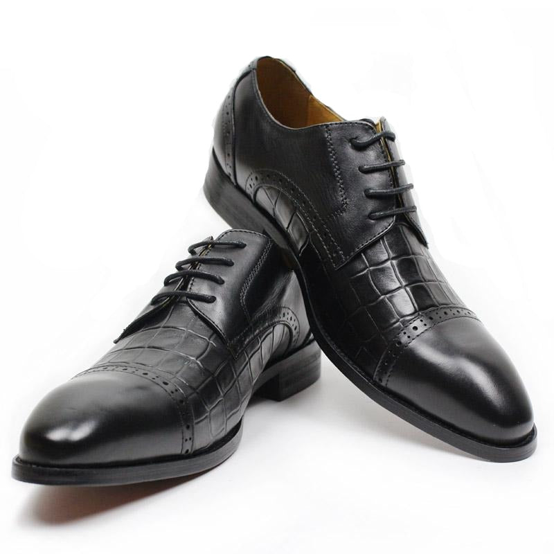 Luxury Genuine Cow Leather Lace Up Pointed Toe Formal Oxford Shoes