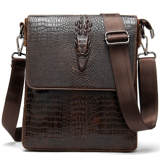 Genuine Cow Leather Crocodile Pattern Vintage Cross-Body Shoulder Bags