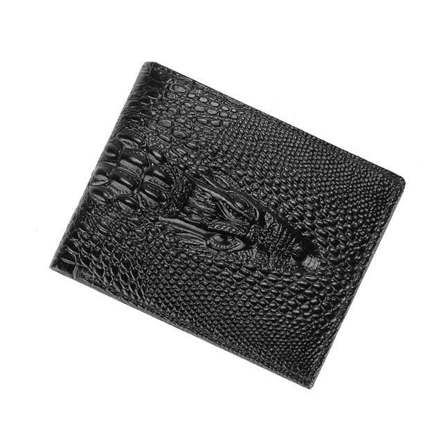 Vintage Genuine Cow Leather Crocodile Pattern Long Slim Card Holder Purse