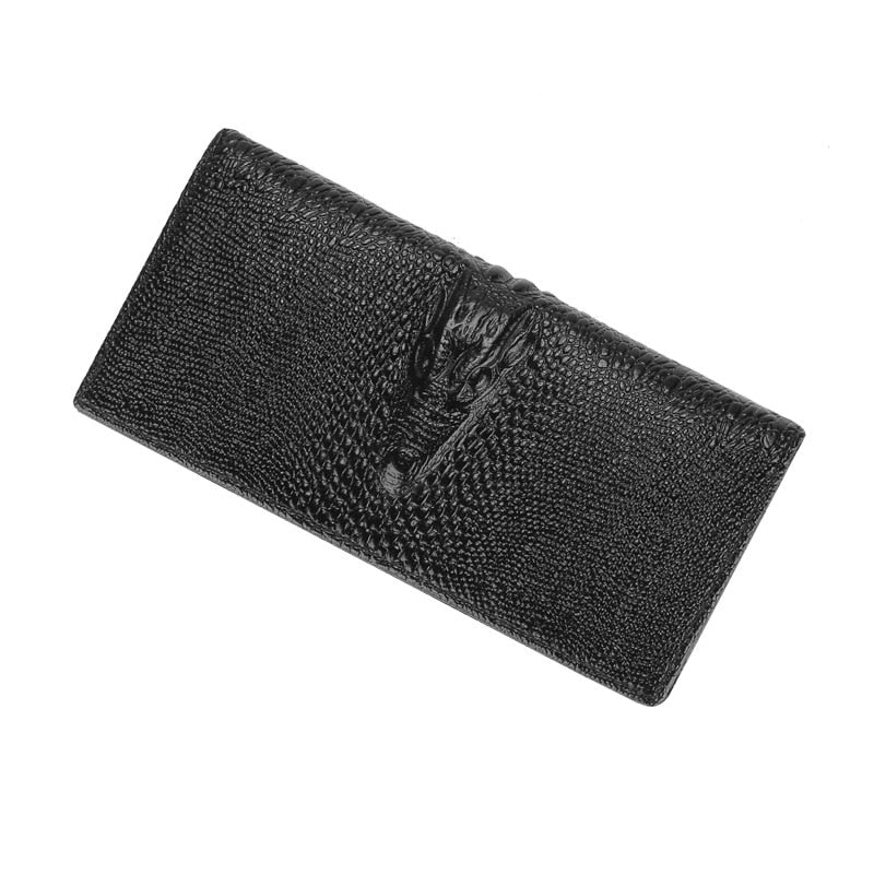 Embossed Crocodile Texture Zipper Long Leather Wallet