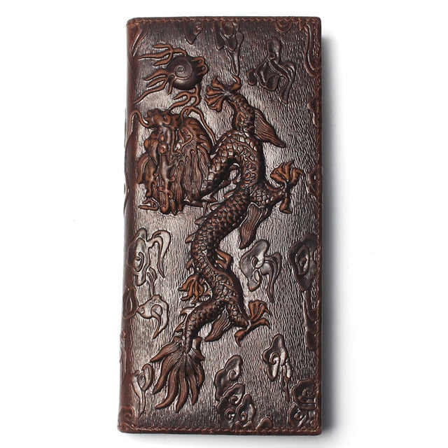 Top Grade Soft Dragon Pattern Oiled Cow Leather Long Size Wallets